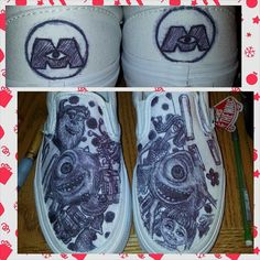 Monsters Inc Shoes by ShoesbyShawndy on Etsy, $55.00