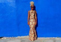 www.cewax.fr  aime cette robe imprimé Afrocentriques africaine Kent Tribal imprimer depuis longtemps équipée de sirène sans manches robe //With tissu attaché collier