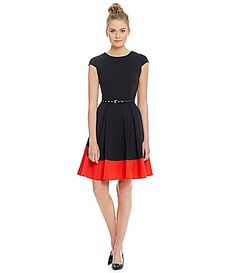 Calvin Klein Colorblock Fit and Flare Dress #Dillards