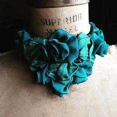 teal roses jabot by Mermaiden Ruff Collar, Neo Victorian, Marie Antoinette, Rococo, Silk Chiffon, Black Velvet, Hand Stitching, Teal, Punk