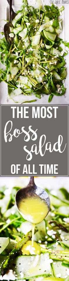 The Most BOSS Salad of All Time - Made with lightly roasted asparagus, arugula…