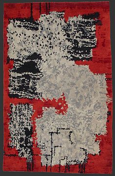 Czech modernist carpet, hand knotted, late 1960ies, 9' x 5' 8'' __ on berber-arts.at