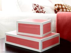 DIY: lacquered boxes #hgtvmagazine http://www.hgtv.com/living-rooms/one-living-room-three-ways/pictures/page-8.html?soc=pinterest