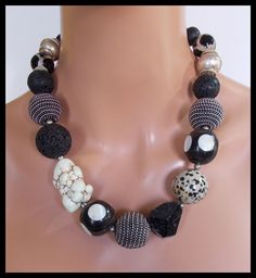 CARAVAN - Vintage Inlaid Horn - Blk Tourmaline - Tibetan Beads - Jasper  and More - Dramatic Statement Necklace by sandrawebsterjewelry on Etsy