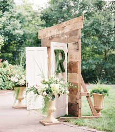 Standing wooden doors for an outdoor wedding. So romantic! View more vintage wedding ideas from Tri-Cities wedding and event rental company @southernknotwed! | The Pink Bride® www.thepinkbride.com