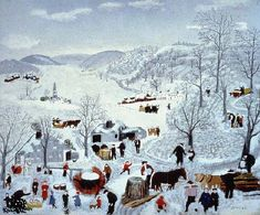 Grandma Moses (Anna Mary Robertson Moses): Sugaring Off, 1943. Galerie St. Etienne, NY.  #Moses #naive #folkart ⌘ Art discussion: http://www.wikipaintings.org/en/grandma-moses/sugaring-off-1943