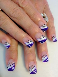 42 Beautiful French Nail Designs Ideas That Trending Now - Best Nail Art Valentine's Day Nail Designs, Purple Nail Designs, French Nail Designs, Pedicure Designs, Acrylic Nail Designs, Nails Design, Pedicure Ideas, Fingernail Designs, French Nail Art