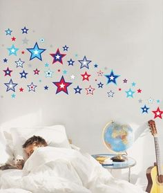 Funky, bright and stylish! Super Stars Wall Decal by Speckled House! Complete your star theme with our Galaxy Star Projector night light and Glow In The Dark Stickers! Nursery Wall Stickers, Removable Wall Stickers, Kids Wall Decals, Wall Decal Sticker, Star Wall, Room Accessories, Room Themes, Kid Spaces, Kids Decor