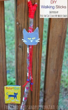 DIY Walking Sticks inspired by Pete the Cat I Love My White Shoes - FSPDT