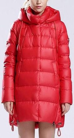 Hooded Short Thick Down Puffer Coat in Red