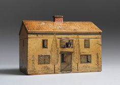 Rare Regency Period House Form Box (Sold)  Wood with Original Penwork and Painted Decoration   English, c.1820