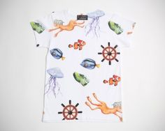 Nautical T-Shirt in orange & blue by Lovestorage is made from premium linen. 2 sizes: S and L. Whimsical depiction of underwater life. From www.moxyst.com