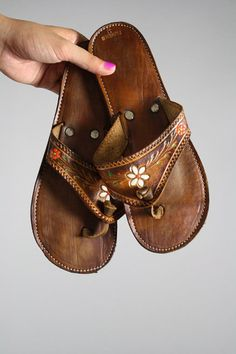 LOVE these flip flops. Brown with painted flowers from the 70's. $22