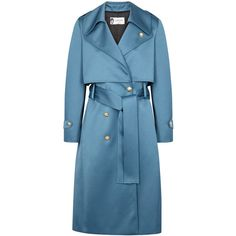 Lanvin Blue Satin Trench Coat - Size 14 (144.220 RUB) ❤ liked on Polyvore featuring outerwear, coats, blue trench coats, blue trenchcoat, lanvin coat, trench coat and satin coat