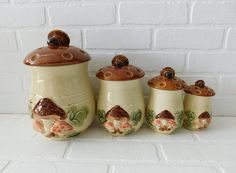 Vintage Mushroom Canister Set  Set of 4  The largest measures 10 inches in height, 6 inches in diame
