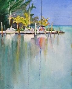 "Banana Bay by Lou Jordan Watercolor ~ 24"" x 18"""