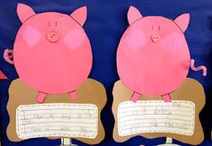 1-2 Pig in a Wig - Pig in the mud craft, with a spot for writing a sentence