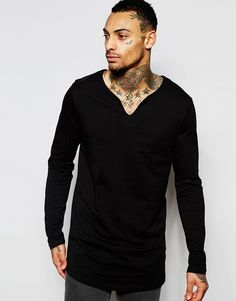 Image 1 of ASOS Longline Long Sleeve T-Shirt With Notch Neck And Curve Hem In Black