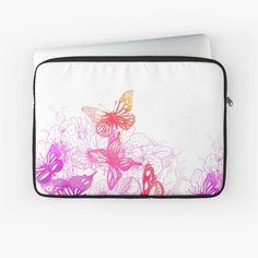 'Pink butterflies' Laptop Sleeve by knovadesign Butterfly Watercolor, Pink Butterfly, Butterflies, Phone Covers, Back To Black, Iphone Wallet, Laptop Sleeves, Art Prints, Printed