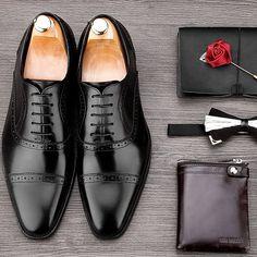 Mens Hand-Made Semi Brogue Toe Cap Oxford Formal Black