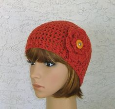 Womens Ladies Teens Floral Crochet Cloche by CrochetHatsForYou,