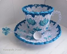 quilled tea cup saucer and spoon