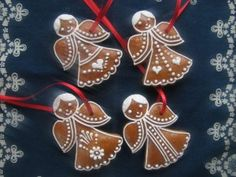 Vánoční ozdoby | Medové perníčky | Výroba a prodej Twelve Days Of Christmas, Christmas Angels, Christmas Diy, Christmas Decorations, Christmas Ornaments, Angel Cookies, Holiday Cookies, Christmas Gingerbread, Gingerbread Cookies
