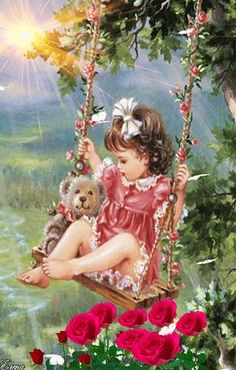 The perfect Kid Bear Swing Animated GIF for your conversation. Discover and Share the best GIFs on Tenor. Beautiful Gif, Beautiful Paintings, Gif Animé, Animated Gif, Gif Bonito, Animation, Gif Pictures, Beautiful Children, Vintage Cards