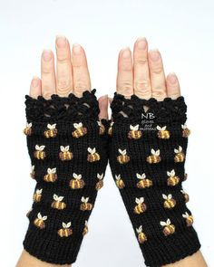 Bees On The Gloves Black Gloves With Bees Hand Knitted