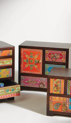 Hand painted wood 3 drawer, 1 door chest