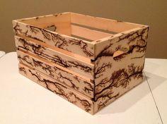 Fractal Burn Pine Wood Crate
