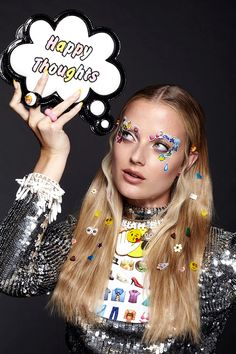 Emoji Girl Emoticon Beauty Editorial with Model Emily Steel, Stickers Covering…