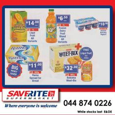 Last day to get your savings on these products at Saverite Supermarket. 1ltr Liquifruit only R14.00 and buy a 900g box of Weet-bix for only R32.00 and get a free can in Liquifruit. These and many more great offers, only at Saverite Supermarket York Street. #supermarket #groceries