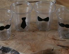 24 10 oz. 12 oz. or 16 oz. clear cup with  mustaches, tie,  Bow Ties. Baby Shower, Mustache bash, little man, birthday party.  Vinyl B-138