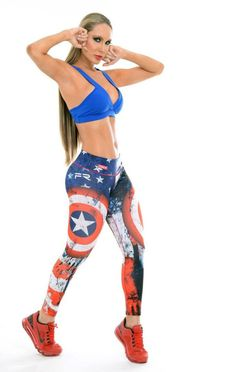 These Captain America Super Hero Leggings from Fiber are great for working out, casual wear or even dressing up for Halloween. You will love these exclusive leggings that are made from the highest qua