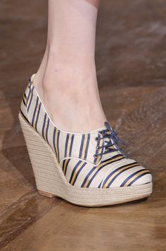 stripes. navy. gold. espadrille. wedge. bootie shoe, shootie. would be so cute with a navy blue Shirt dress.