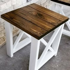 Pallet Table Plans Set of Custom Farmhouse End Tables-End Table w/ X design-Farm End Table-Coffee Table distressed-Rust - Check out our custom farmhouse set of end tables hand crafted together by my wife