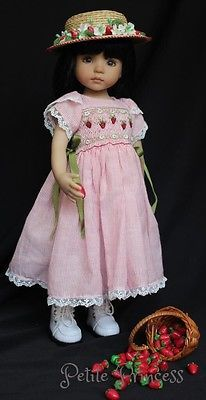 "OOAK Smocked Embroidered Ensemble for Effner 13"" Little Darling Dolls 