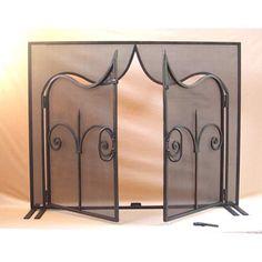 87f5507fb97 Spi Home Provincial Fireplace Screen Triple Panel 55321