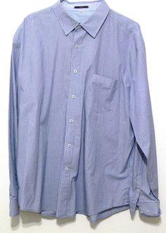 Tahari Mens Button Down Striped Shirt Long Sleeves 100% Cotton Size XL #TAHARI #ButtonFront
