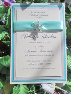 Sparkly Starfish Beach Themed Bridal shower by EmptyNestCards