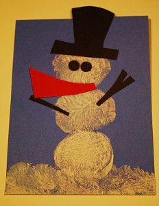 Marshmallow Snowman Painting | AllFreeKidsCrafts.com