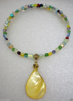 yellow mother of pearl mop pendant colorful glass necklace choker   #Handmade #Choker