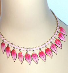 1930s/40s Rare Vintage Coro Pink Drop Leaf Book Chain Necklace - signed