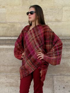 Handwoven saori style asymmetric sweater made of by RuedelaLaine, €295.00