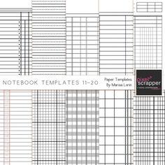 Notebook Paper Templates 11-20 by Marisa Lerin | Pixel Scrapper digital scrapbooking