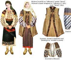 Romania, Folk Natioanl Ethnic Popular Costumes of Suceava Moldova Bucovina Folk Embroidery, Learn Embroidery, Embroidery Patterns, 1 Decembrie, Popular Costumes, Simple Cross Stitch, Moldova, Folk Costume, Embroidery Techniques