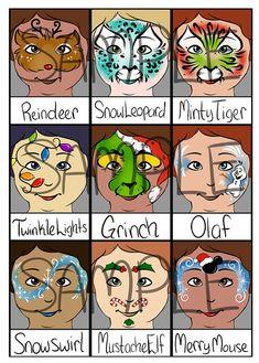Face Painting Menu Christmas Full Faces Digital Download