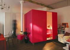 romantic red cube in room