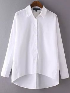Shop High Low Lapel White Blouse at ROMWE, discover more fashion styles online. Long White Shirt, White Shirts, White Blouses, Classic White Shirt, Mode Outfits, Fashion Outfits, Mode Hijab, Diy Clothes, Bunt